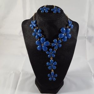 Blue and Gold Flower Necklace Set